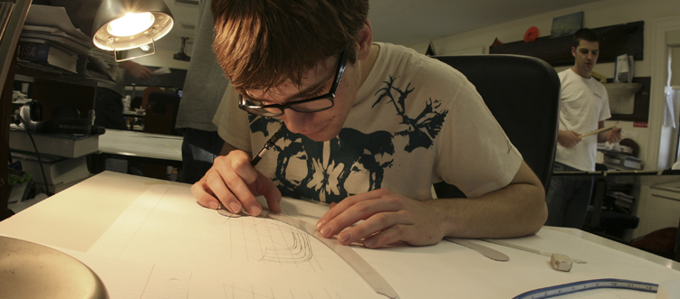 Student working on line drawing