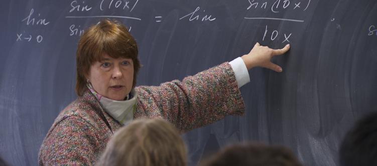Math professor in the classroom