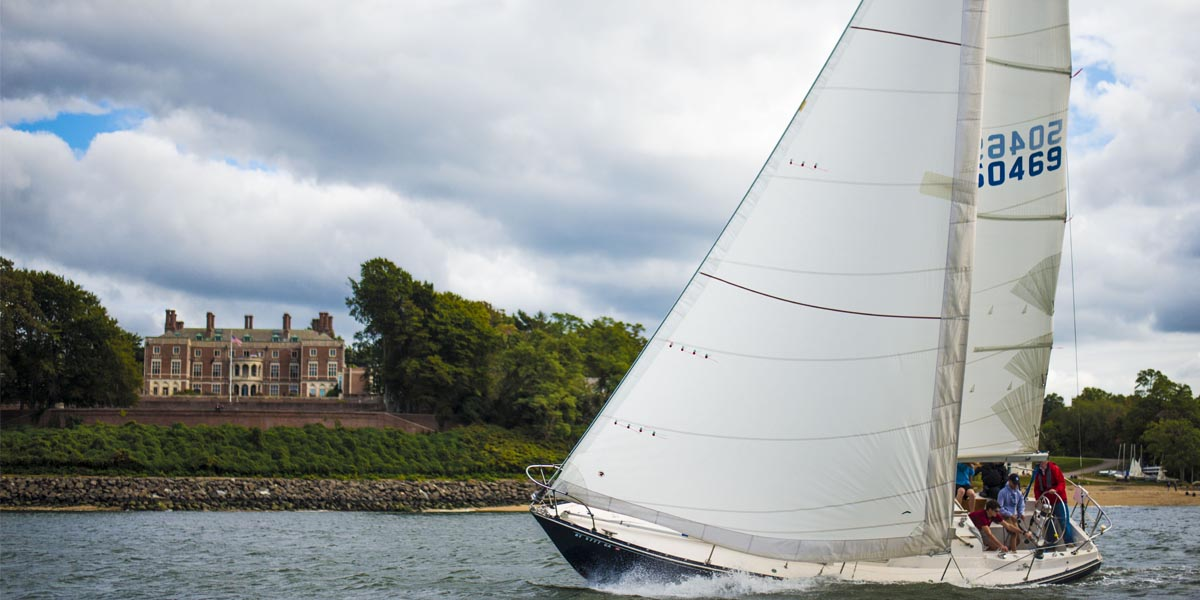 Students sailing at Webb Institute