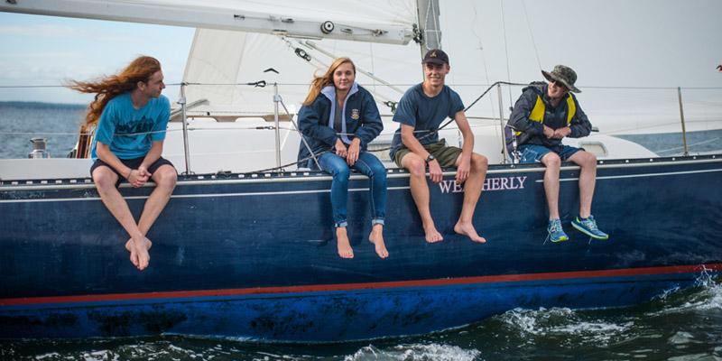 Students sailing on Weatherly
