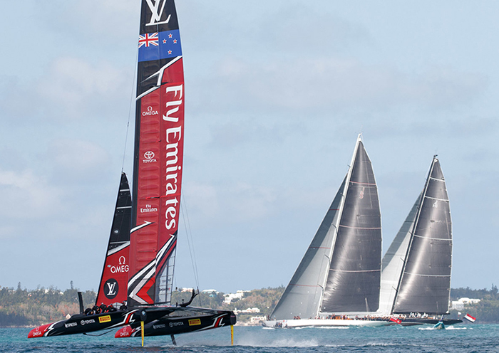 Emirates Team New Zealand Test sailing before their Louis Vuitton America's Cup Match against Oracle Team USA Racing Day 2