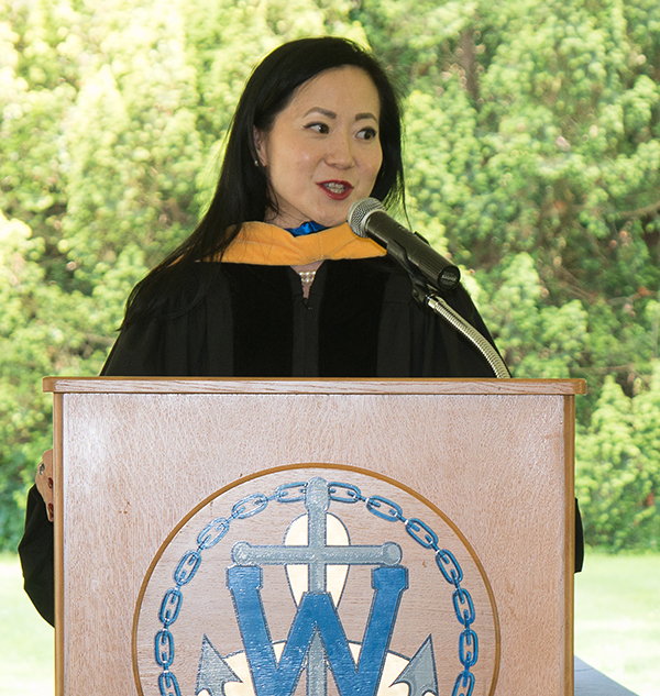 Commencement speaker, Angela Chao, during the ceremony.