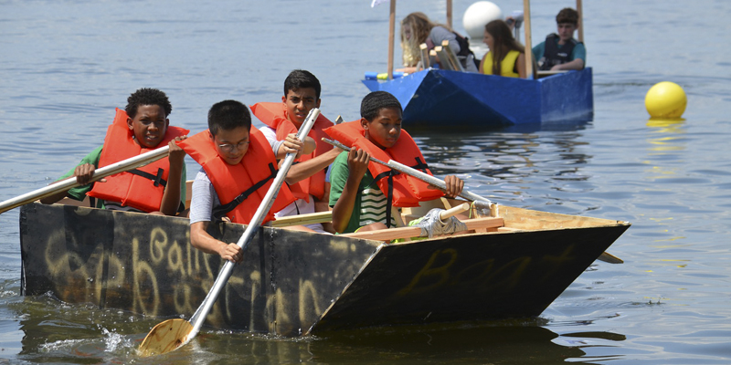 Summer Engineering Academy students during the boat competition