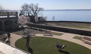 Enjoying the spring weather on Boysie Bollinger Courtyard