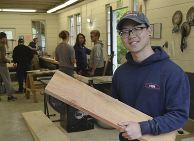 Students in the Webb Institute Carpentry Shop