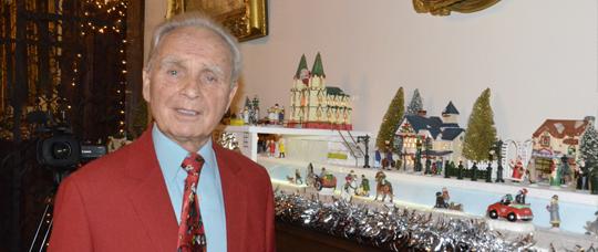 Joseph Mazurek with his Holiday Display